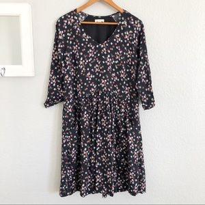 Garnet Hill Black Polka Dot Peasant Smock Dress